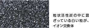 粒状活性炭の中に混ざっている白い粒が、イオン交換体