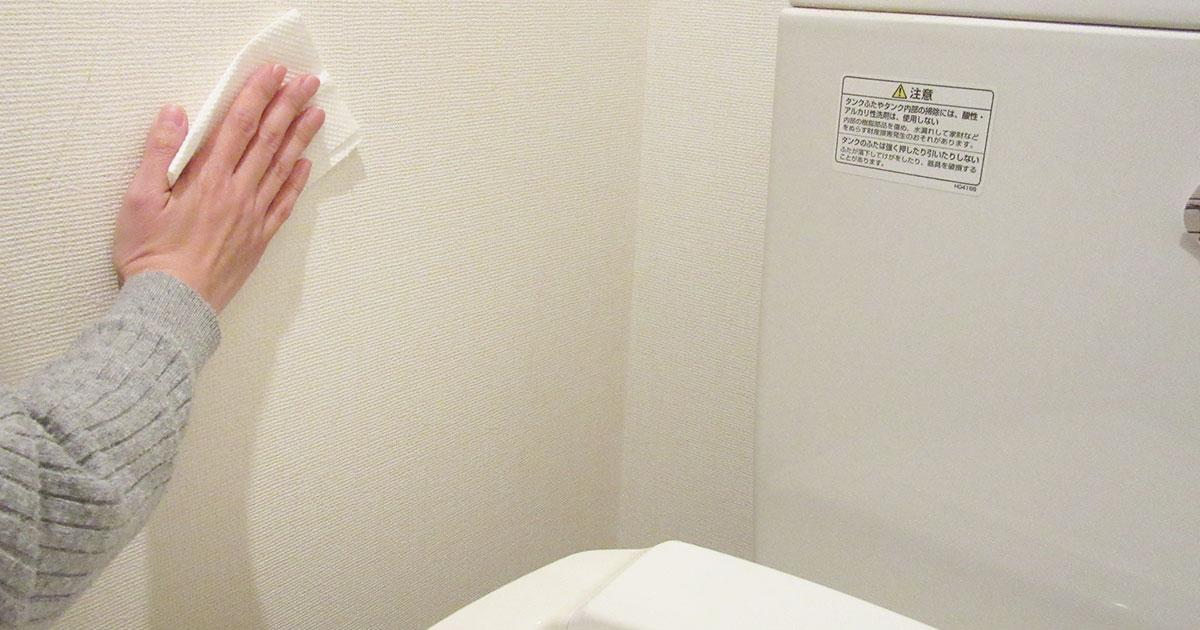 トイレ壁を拭き掃除する手の写真